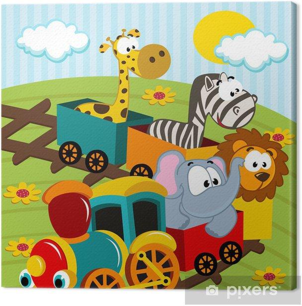 Tableau sur toile Animaux en train - illustration vectorielle - Pour enfant de 5 ans