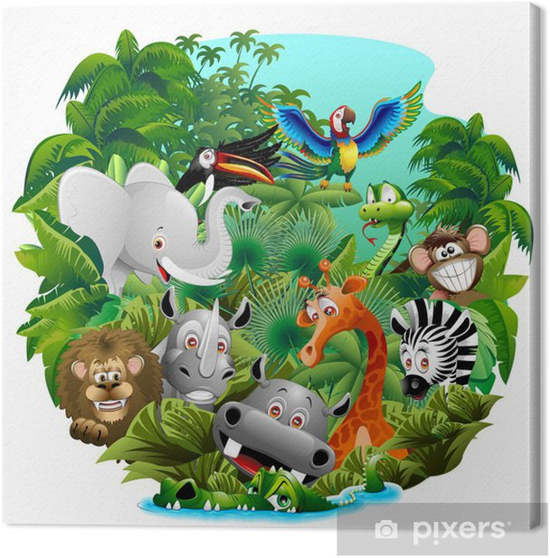 Tableau sur toile Animaux sauvages sur Cartoon Jungle Jungle animaux sauvages - Mammifères