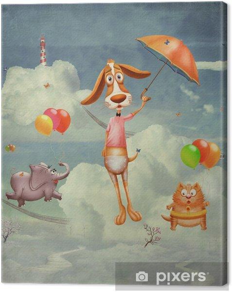 Tableau sur toile Animaux sur la planète fantastique dans le ciel - Animaux