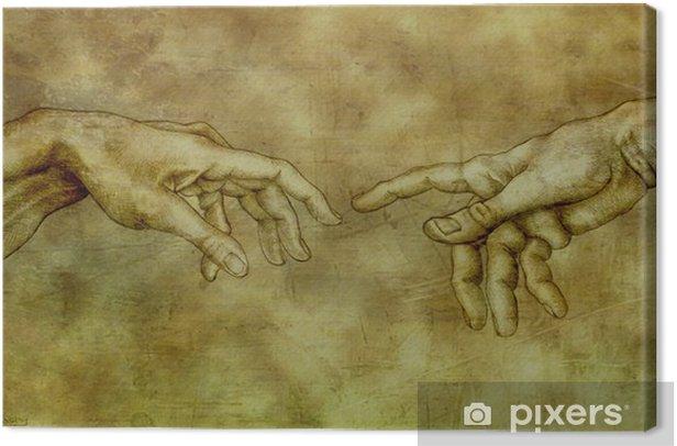 Tableau Sur Toile Apres Michel Ange Adam Et Dieu Pixers Nous Vivons Pour Changer