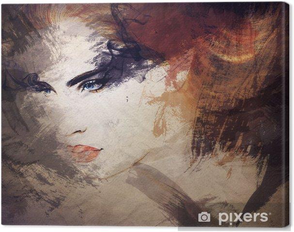 Tableau sur toile Aquarelle abstraite, portrait de femme - Styles