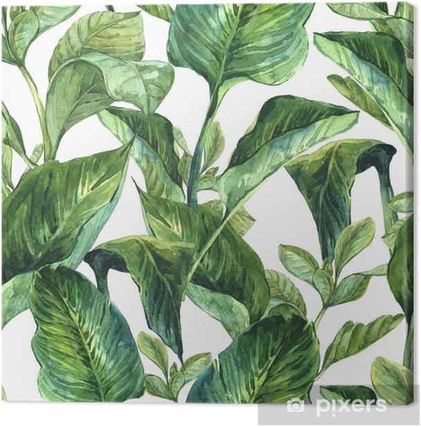 Tableau sur toile Aquarelle avec des feuilles tropicales - Plantes et fleurs