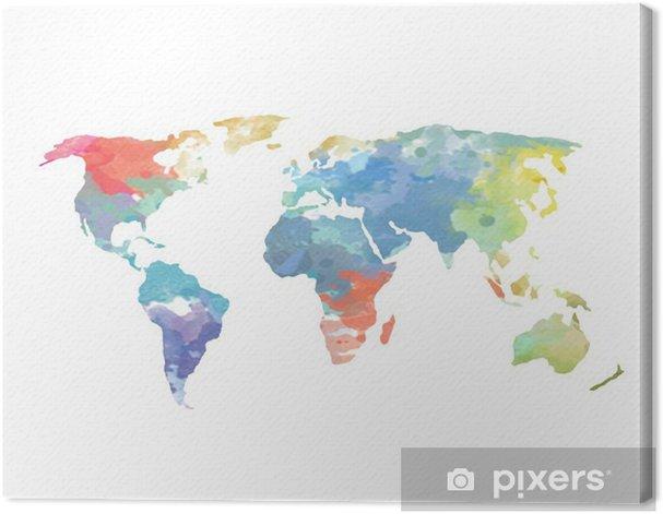 Tableau sur toile Aquarelle Carte du monde Affiche - Sticker mural