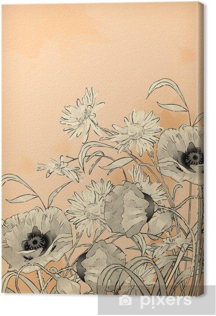 Tableau sur toile Aquarelle Dessin au crayon à la main Fleurs - Art et création