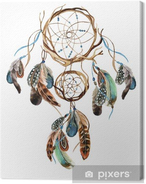 Tableau sur toile Aquarelle ethnique dreamcatcher. - Ressources graphiques