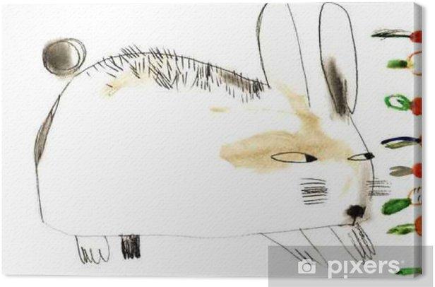 Tableau sur toile Aquarelle lapin carotte - Animaux