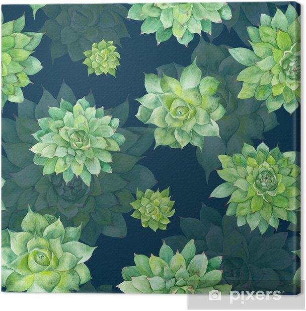 Tableau sur toile Aquarelle Motif Succulent sur fond bleu - Plantes et fleurs