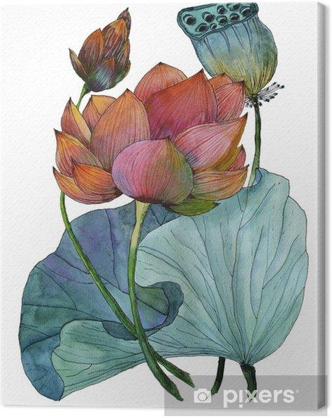Tableau sur toile Aquarelle originale de plantes aquatiques de lotus - Plantes et fleurs