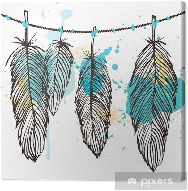 Tableau sur toile Aquarelle plume ensemble - Thèmes