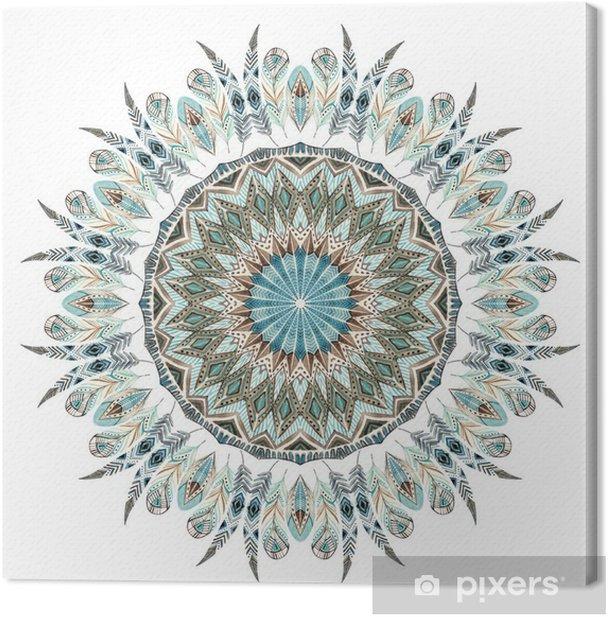 Tableau sur toile Aquarelle plumes ethniques mandala abstrait. - Ressources graphiques