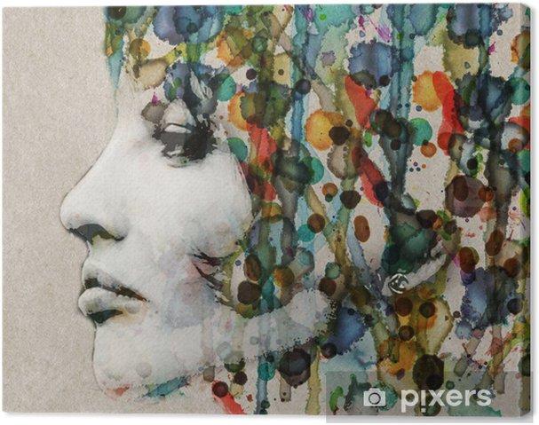 Tableau sur toile Aquarelle profil femelle - Styles