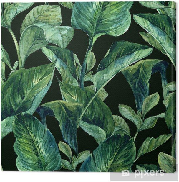 Tableau sur toile Aquarelle Seamless avec des feuilles tropicales - Fleurs et plantes