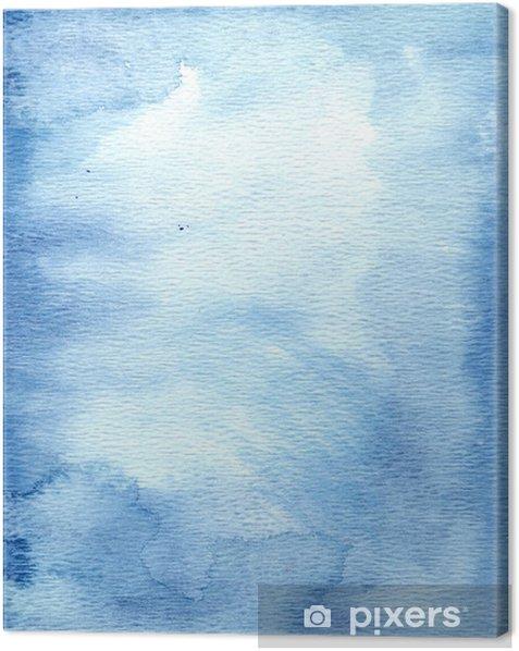 Tableau sur toile Aquarelle sur fond bleu - Arrière plans
