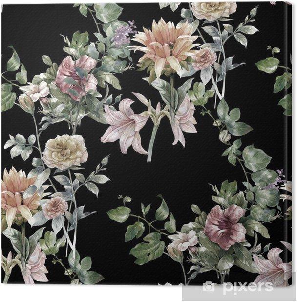 Tableau sur toile Aquarelle sur papier des feuilles et des fleurs, motif sans couture sur fond sombre, - Passe-temps et loisirs
