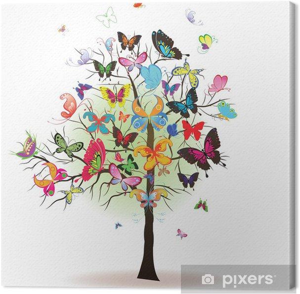 Tableau sur toile Arbre à papillon, élément pour la conception, illustration vectorielle - Saisons