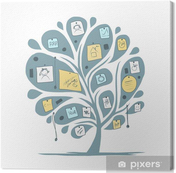 Tableau sur toile Arbre abstrait avec des notes pour votre conception - Paix