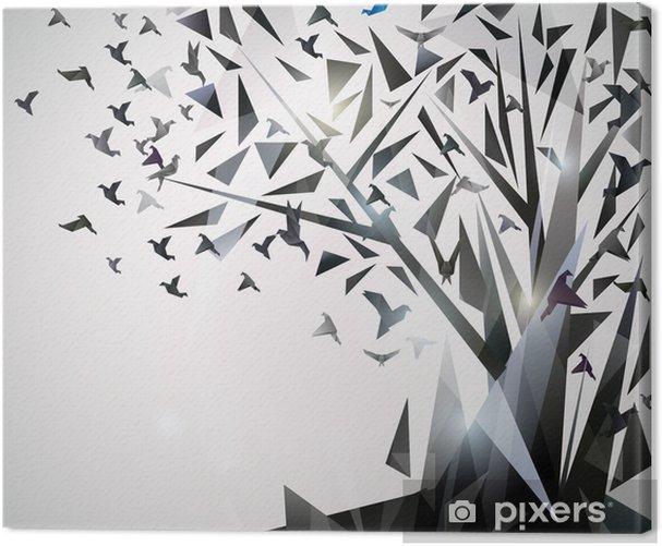 Tableau sur toile Arbre abstrait avec des oiseaux en origami. - Thèmes