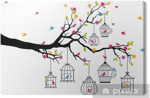 Tableau sur toile Arbre avec des oiseaux et des cages à oiseaux, vecteur - Thèmes