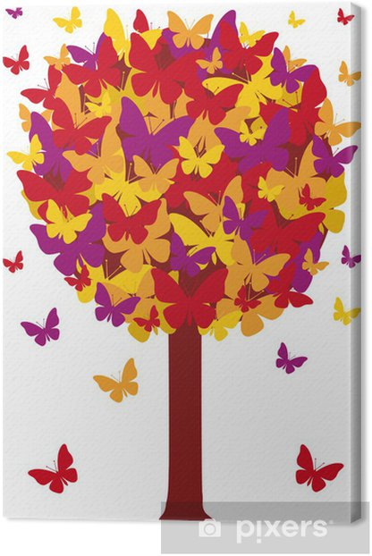 Tableau sur toile Arbre d'automne avec les feuilles de papillon, vecteur - Saisons
