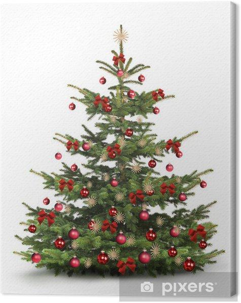 Tableau sur toile Arbre de Noël avec des décorations de Noël rouges - Fêtes internationales