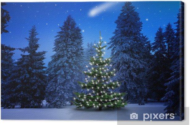 Tableau sur toile Arbre de Noël dans la forêt de pins - Fêtes internationales