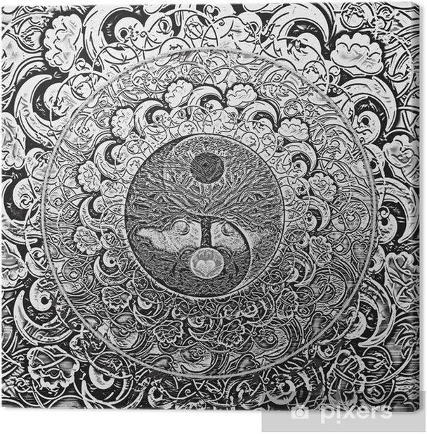 Tableau sur toile Arbre de Vie Argent Mandala - iStaging