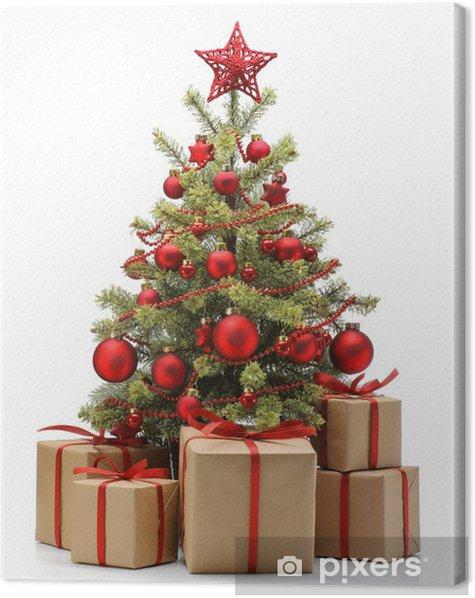 Tableau sur toile Arbre et des cadeaux de Noël décoré - Fêtes internationales