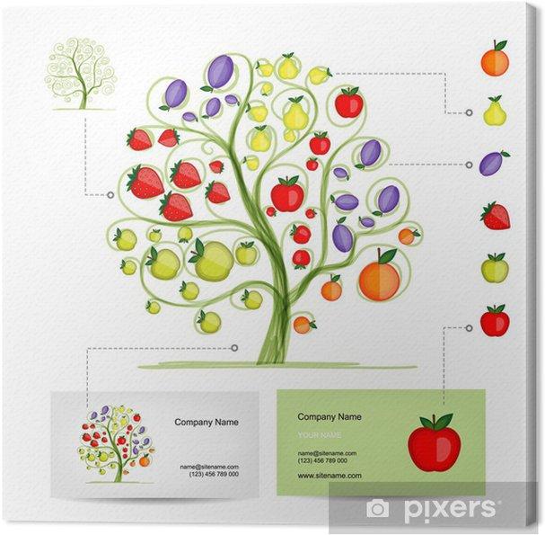 Tableau Sur Toile Arbre Infographie Avec Des Fruits Modle De Carte Visite