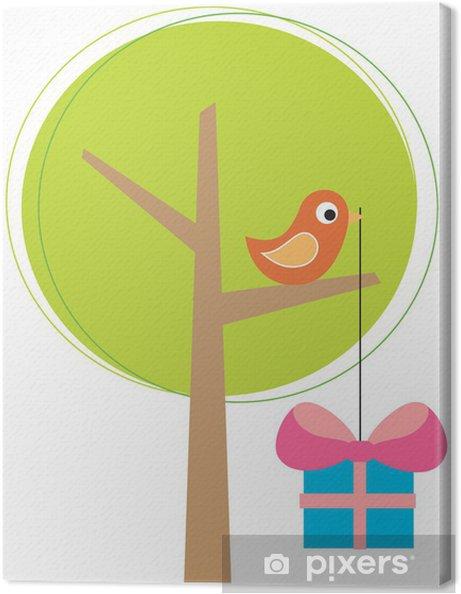Tableau sur toile Arbre stylisé avec un oiseau - Fêtes internationales
