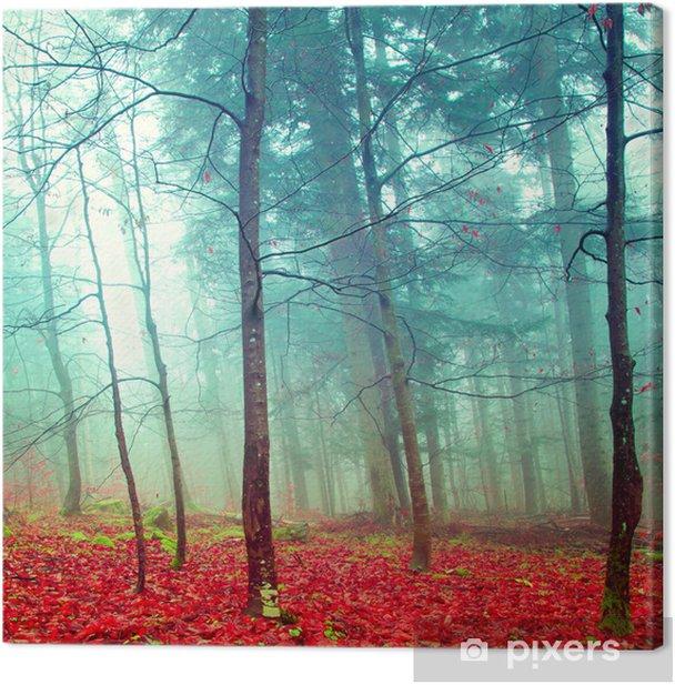 Tableau sur toile Arbres colorés d'automne mystiques - Destin