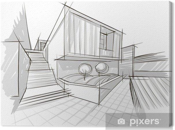 tableau sur toile architecture croquis pixers nous vivons pour changer. Black Bedroom Furniture Sets. Home Design Ideas