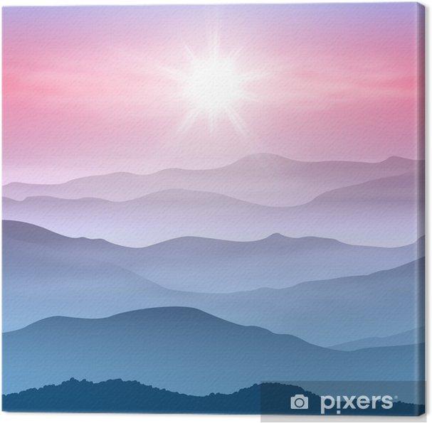 Tableau sur toile Arrière-plan avec le soleil et les montagnes dans le brouillard - Montagne