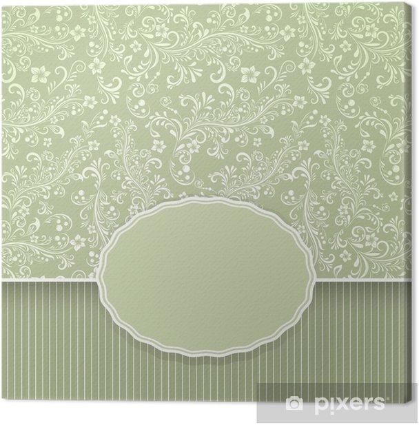 Tableau sur toile Arrière-plan transparent vintage floral vert foncé - Arrière plans
