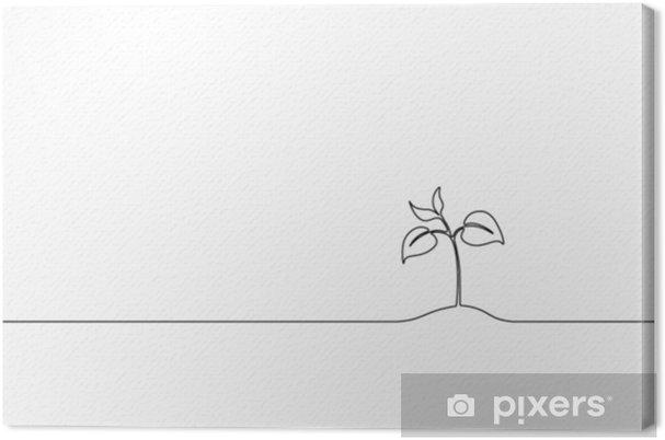 Tableau Sur Toile Art Unique En Ligne Continue Poussant Des Germes Plante Feuilles Semences Poussent Sol Semis Eco Ferme Naturelle Concept Design