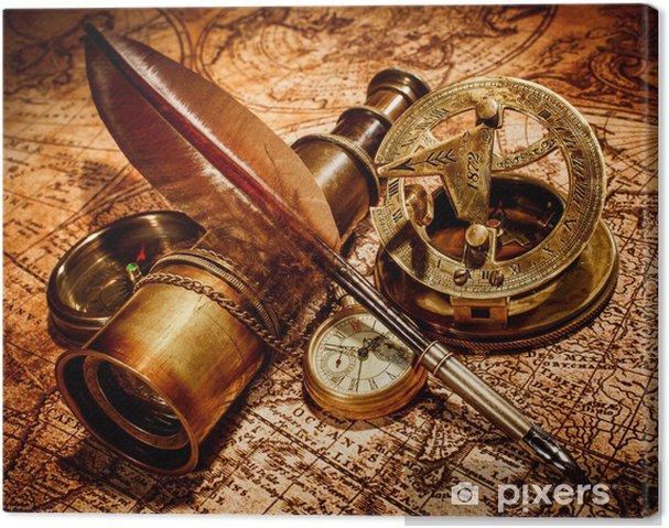 Tableau sur toile Articles vintage sur la carte ancienne. - Thèmes