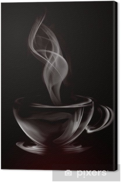 Tableau sur toile Artistique Coupe de fumée Illustration de café sur fond noir -
