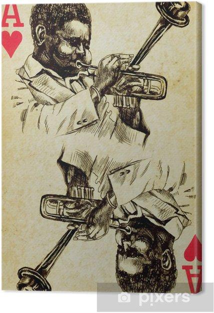 Tableau sur toile As de jazz, dessin à la main - Musique