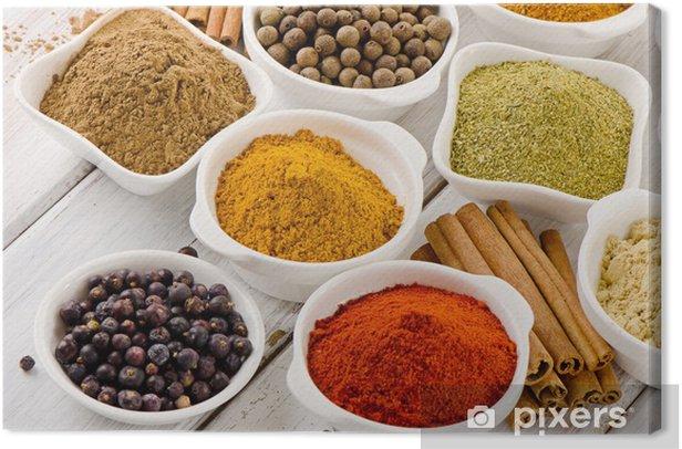 Tableau sur toile Assortiment d'épices en poudre - Epices, herbes et condiments