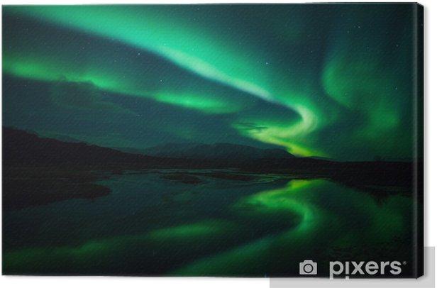 Tableau sur toile Aurores boréales au-dessus lagon en Islande - Norvège