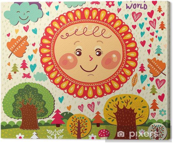 Tableau sur toile Automne illustration de bande dessinée avec le soleil et les arbres fun - Saisons