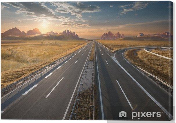 Tableau coucher de soleil et autoroute 2 tableaux sur toile autoroute vide au coucher du soleil