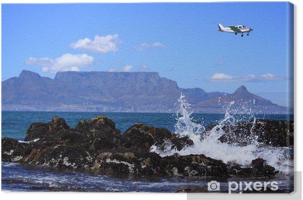 Tableau sur toile Avion au-dessus de montagne de table - Afrique