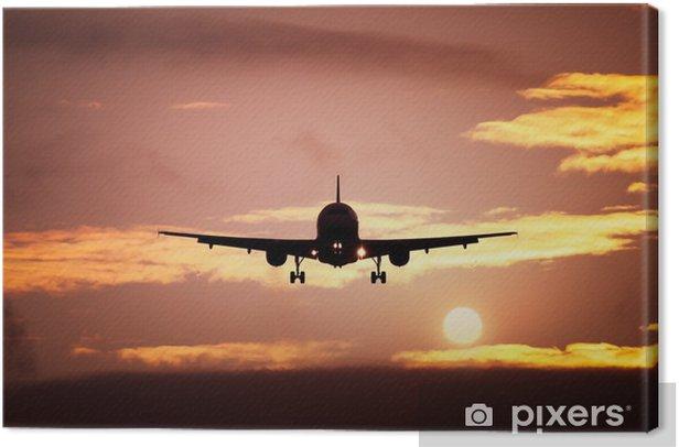 Tableau sur toile Avion dans le ciel coucher de soleil - Thèmes