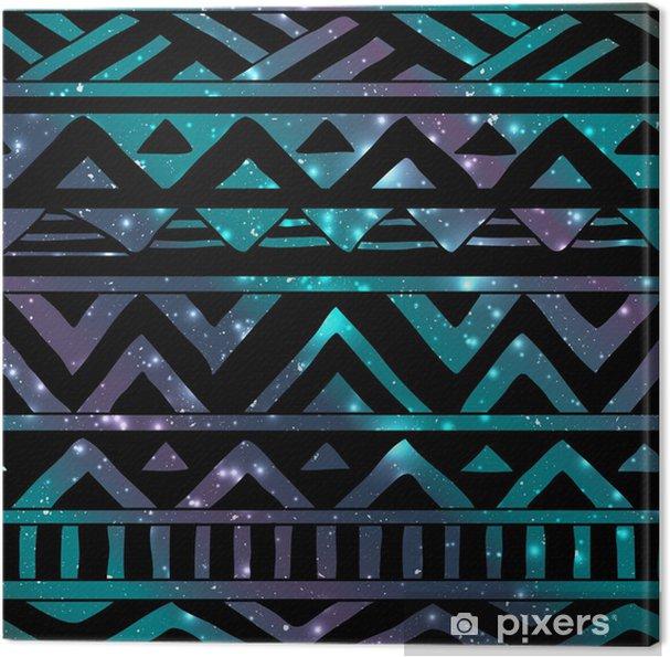Tableau sur toile Aztec Seamless tribal sur fond cosmique - Boho