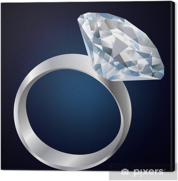 Tableau sur toile Bague de diamant sur fond noir - Mode