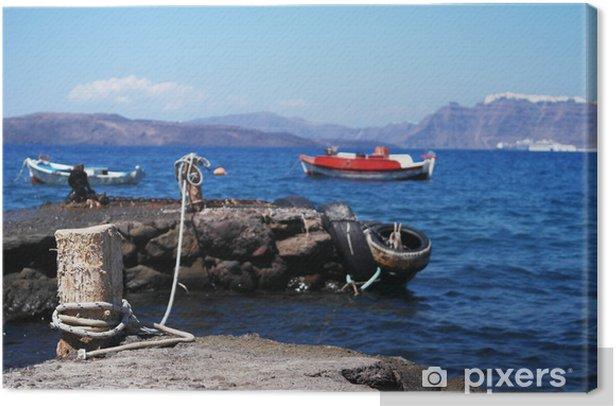 Tableau sur toile Baia sulla Caldera, Santorini - Vacances