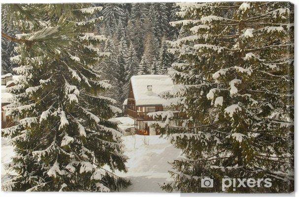 Tableau sur toile Baita di Montagna nascosta tra gli abeti - Montagne