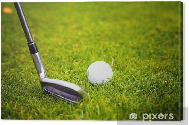 Tableau sur toile Balle de golf avant de frapper avec le club du tee - Sports individuels