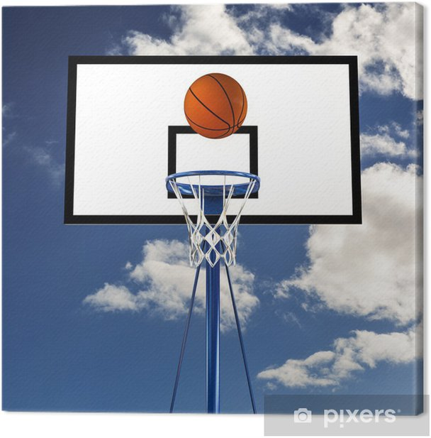Tableau sur toile Balle qui rebondit sur un panneau de basket-ball - Jeux