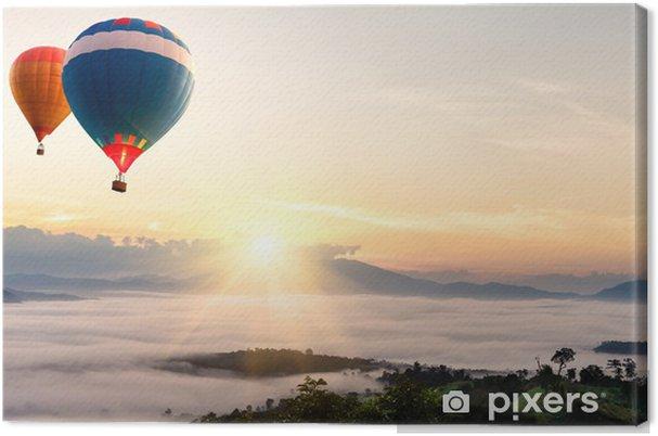 Tableau sur toile Ballon à air chaud au-dessus de la mer de brouillard - Ciel
